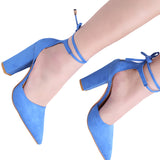 Women Pointed Strappy Pumps Sexy Retro High Thick Heels Lace Up Shoes - Style Lavish