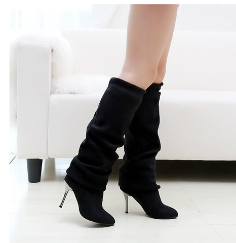 Women's Spring/Autumn Folding Over the Knee Boots Sexy Thin High Heel Boots Fashion Pointed toe Boots Shoes