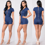 Women Clothes Casual V-Neck Short Sleeve Solid Ladies Zipper Summer Denim Beach Rompers - Style Lavish