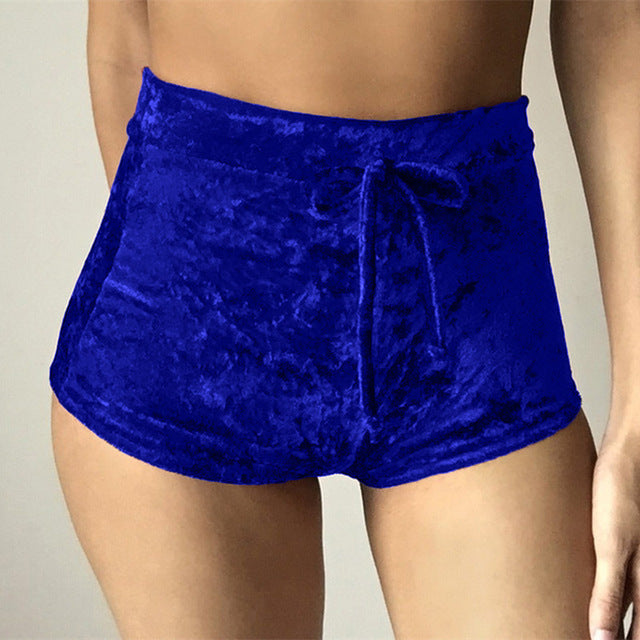 Women Velvet Drawstring Shorts Casual High Waist Autumn Sexy Skinny Booty Shorts