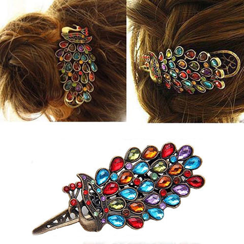 Women Colorful Vintage Hairclips Crystal Peacock Hairpin