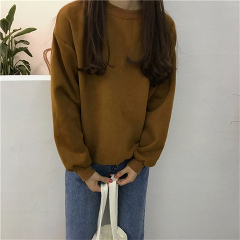 Harajuku Solid Sweatshirt Women Long Sleeve Hoodie Loose Women Hoodies Sweatshirts Casual Tracksuit
