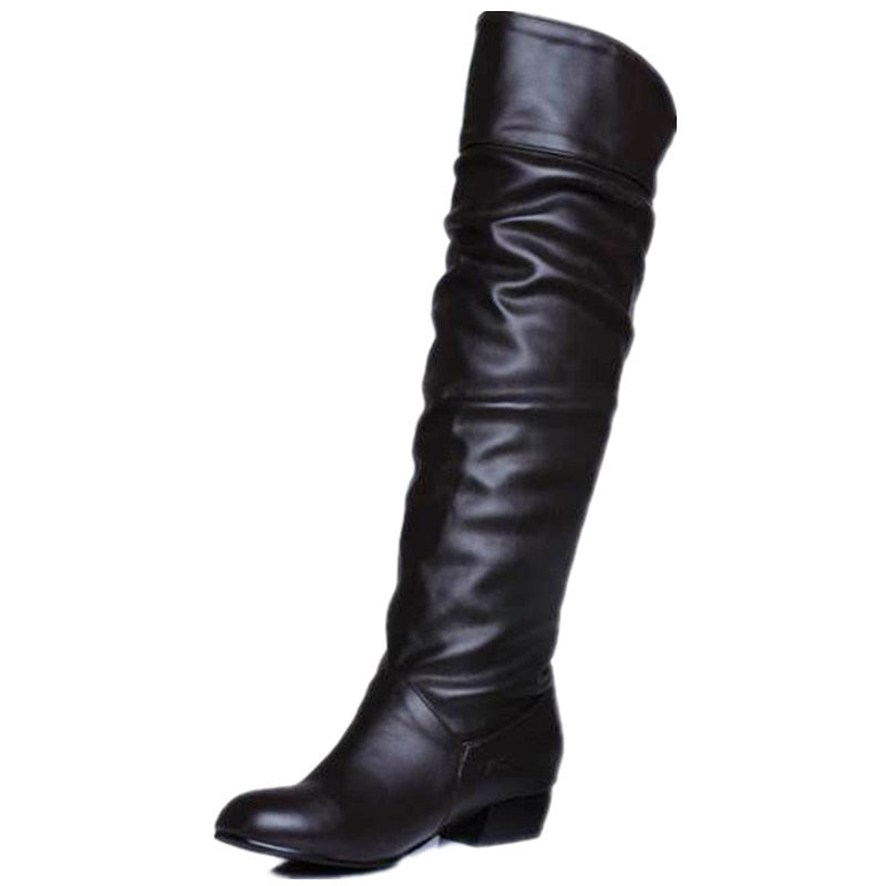 Knee high Women Boots Flat Heels Half Boots Spring Autumn Woman Shoes
