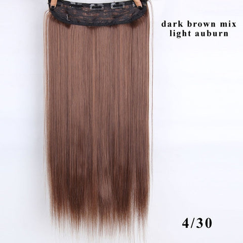 22 inch(55cm)  Long Straight Women Clip in Hair Extensions Black Brown High Tempreture Synthetic Hairpiece