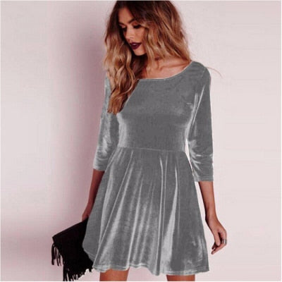 Women Swing Hem Velvet Dress Autumn Party Mini Dress Velour Dresses Long Sleeve Slim Tops