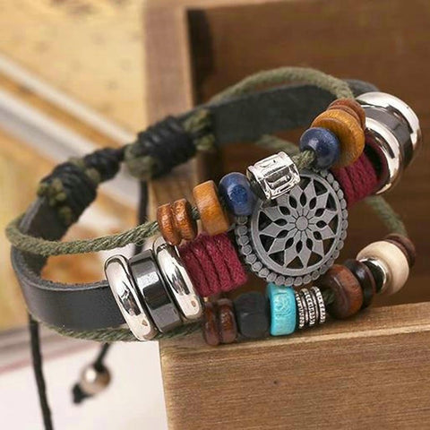 Vintage Bohemia Wind Multilayer Leather Bracelet For Men and Women Wooden Bead Hand Woven Bracelet Bangle