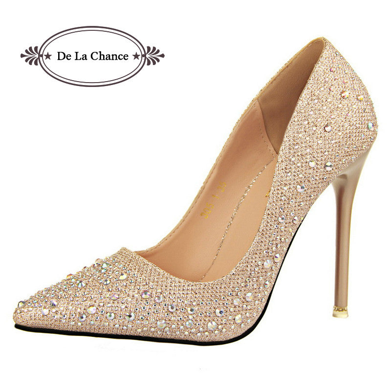 Women Silver Rhinestone Wedding Shoes Platform Pumps Red Bottom High Heels Crystal Shoes Gold Black Pink - Style Lavish