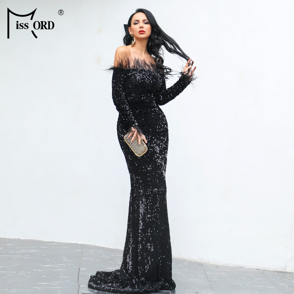 Sexy Off Shoulder Feather LongSleeve Sequin floor length Evening party Maxi Reflective  Dress