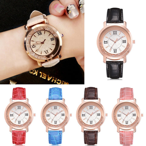 Watch Rhinestone Leather Bracelet Wristwatch Women Fashion Watches Ladies Alloy Analog Quartz
