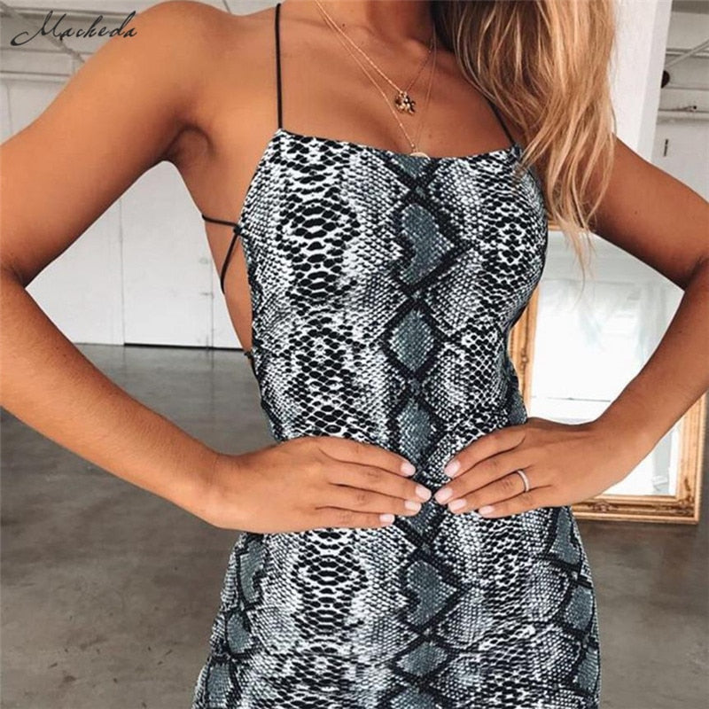 Sexy Cross Bandage Backless Bodycon Dress Women Sleeveless Halter Summer Dress Snake Print Short Party Casual Mini Dress