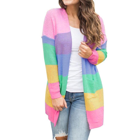 Autumn Sweater Women Long Sleeve Patchwork Knitted Open Front Rainbow Striped Cardigan Women Coat