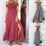 Sexy Strapless Beach Summer Dress Sundresses Vintage Bohemian Maxi Dress Boho Floral Women Split Long Dresses