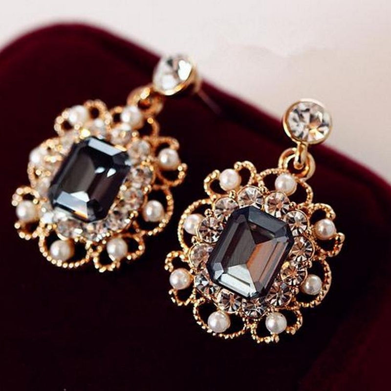 Cystal Simulated Square Shape Earrings Shiny Crystal Hoop Charm Earring Best Charm Fashion Jewelry Gift for Women Girls