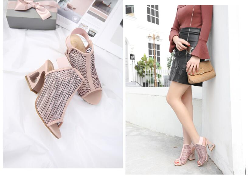 Woman  Shoes Fish Mouth Rome Elastic Band High-Heeled Shoes Heteromorphic Heel Heart-Shaped Heel Pumps