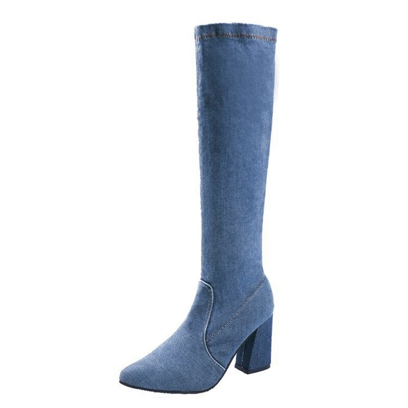 Denim Women stretch Party Knee Boots zipper Sexy square high Heels shoes Woman Booties Pointed Toe