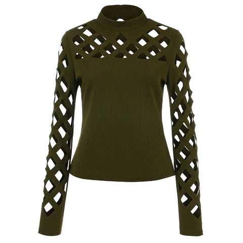 Women Tops Blouses Vintage Hollow Out Long Sleeve Ladies Tops Tunic Fashion Clothing
