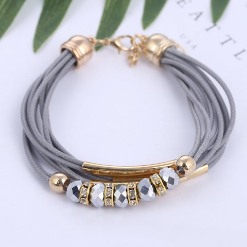 Bracelet Fashion Jewelry Leather Bracelet for Women Bangle Europe Beads Charms Gold Bracelet Christmas Gift