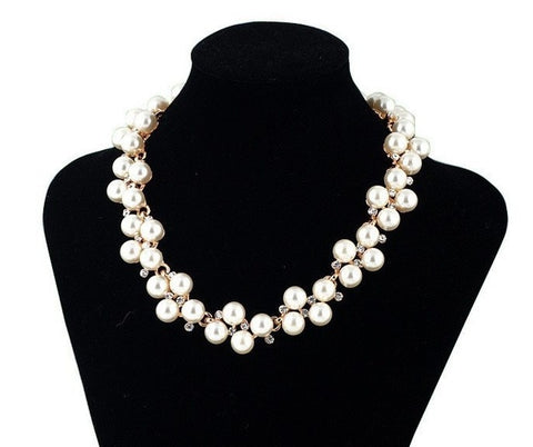 Simulated Pearl Jewelry Trendy Women Necklaces & Pendants  Short Chokers Statement Necklace