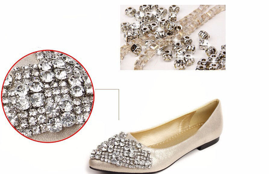 Fashion Flats Shoes Women Ballet Princess Shoes For Casual Crystal Boat Shoes Rhinestone Women Flats