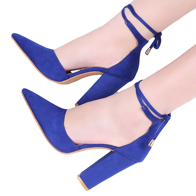 Women Thick Heels Pumps Ankle Strap High Heels Pointed Toe Shallow Woman Pumps