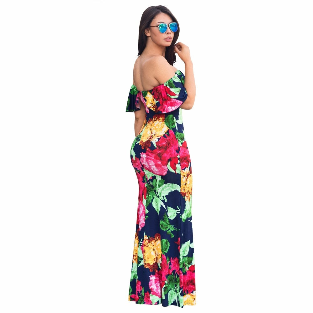 Summer Casual Women Dress Slash Neck Fashion Floral Print Sexy Backless Boho dresses Beach maxi Dress
