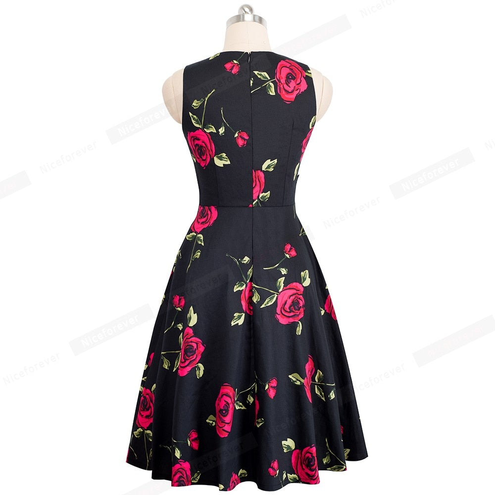 Women Vintage Elegant Embroidery Floral Lace Patchwork Dresses A-Line Pinup Business Women Party Flare Swing Dress