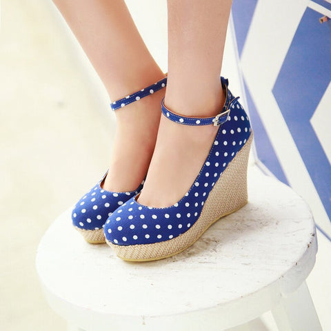 Cute Sweet Bow Polka Dot Fashion Women Shoes Wedges High Heels Spring Woman Pumps Shoes