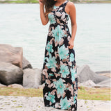 Summer Casual Clothing Sexy Women Sleeveless Beach Long Dress Elegant Ladies Boho Floral Printed Maxi Party Dresses