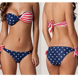 Sling Tie USA American Flag Print Swimwear Biquinis Women Sexy Swimsuit Bikinis Set Trikini Beach Bathing Suit Tankini