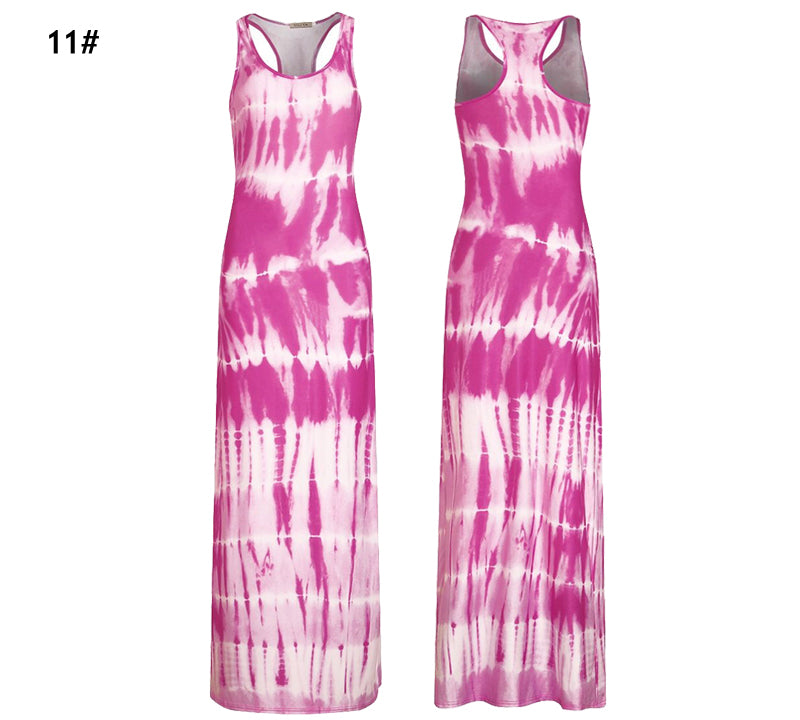 Women Summer Dress Boho Bohemian Floral Print Bodycon Sleeveless Long Maxi Floor Length Dresses