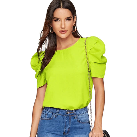 Women Elegant Keyhole Back Puff Sleeve Blouse Solid Top Summer Blouses for Women Short Sleeve Woman Tops