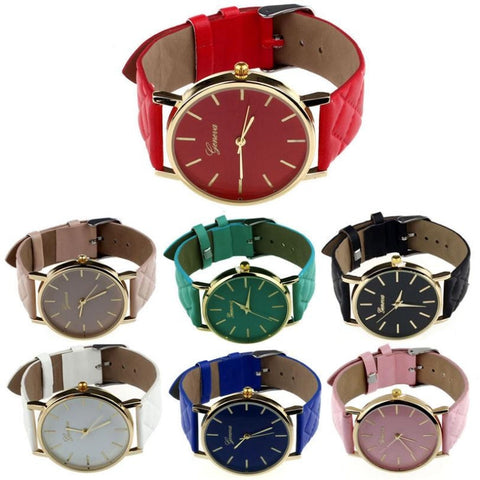 Women Watch Checkers Faux lady Dress Watch Women Casual Leather Quartz-Watch Analog Wristwatch Gifts