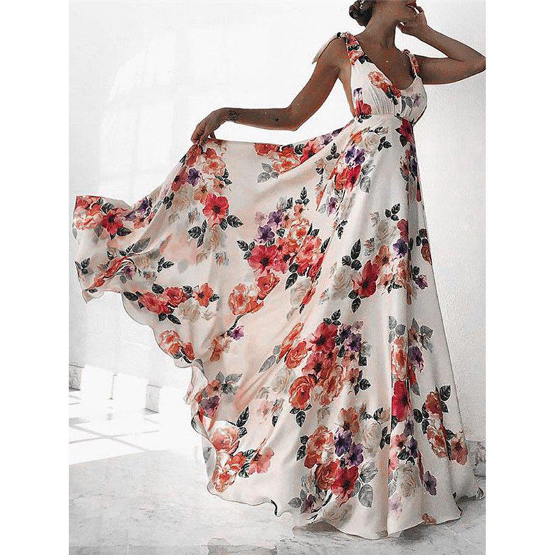 Sexy Floral Print Women Summer Sleeveless V-Neck Backless Vintage Long Boho Party Cocktail Casual Loose Beach Dress