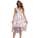 Summer Dress Women Floral Print Dress V-Neck Sleeveless Spaghetti Strap Backless Sexy Dress