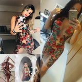 Sexy Mesh Embroidery Red Sequin Summer Dress Women Off Shoulder Perspective Luxury Bodycon Party Dresses