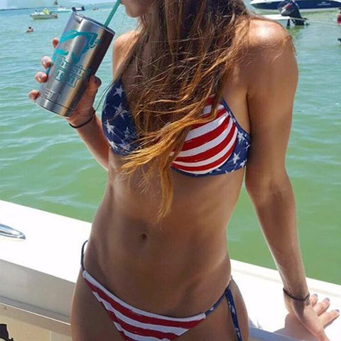 Women American Flag The fourth of July Two Pieces Bikini Swimwear Beachwear Bodysuit Swimsuit Bathing Suit