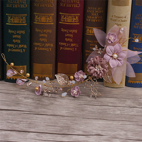 Sweet Long Hair Flower Wedding Hair Ornaments Gold Purple Series Bride Headdress Handmade Bridal Party Wedding Hair Decoration