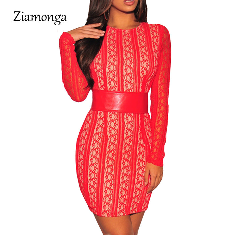 Fashion Women Long Sleeve Lace Splice Bandage Dress Sexy Black Knee Length Midi Bodycon Dress Women Evening Party Dresses