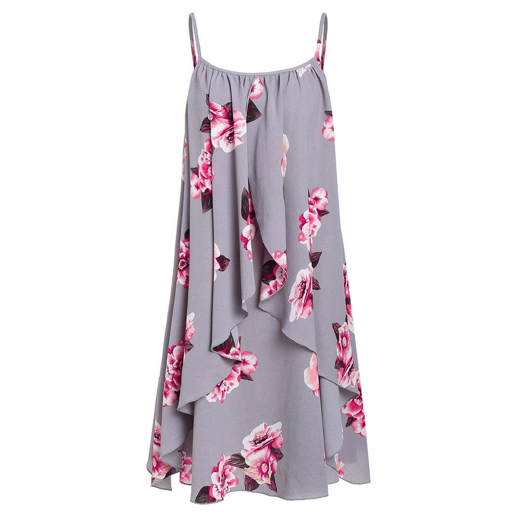 Fashion Summer Women Short Sleeve Front Criss Cross Top + Floral Print Mini party Dress Suits
