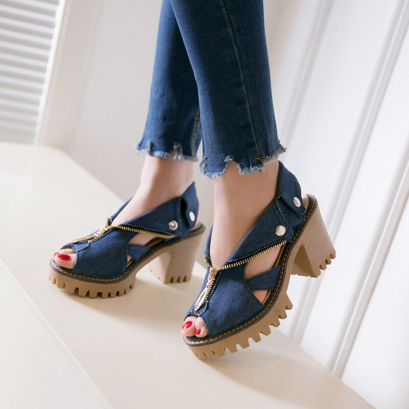 Women Denim Sandals Platform Sandals Women High Heel Sandals Zipper Summer Shoes