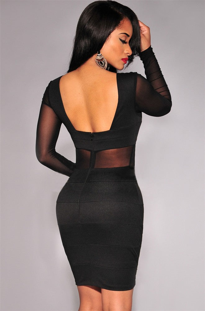 Novelty Long Sleeve Sexy Party Dresses Women Backless Bodycon Bandage Dress Hollow Out Black White Dresses