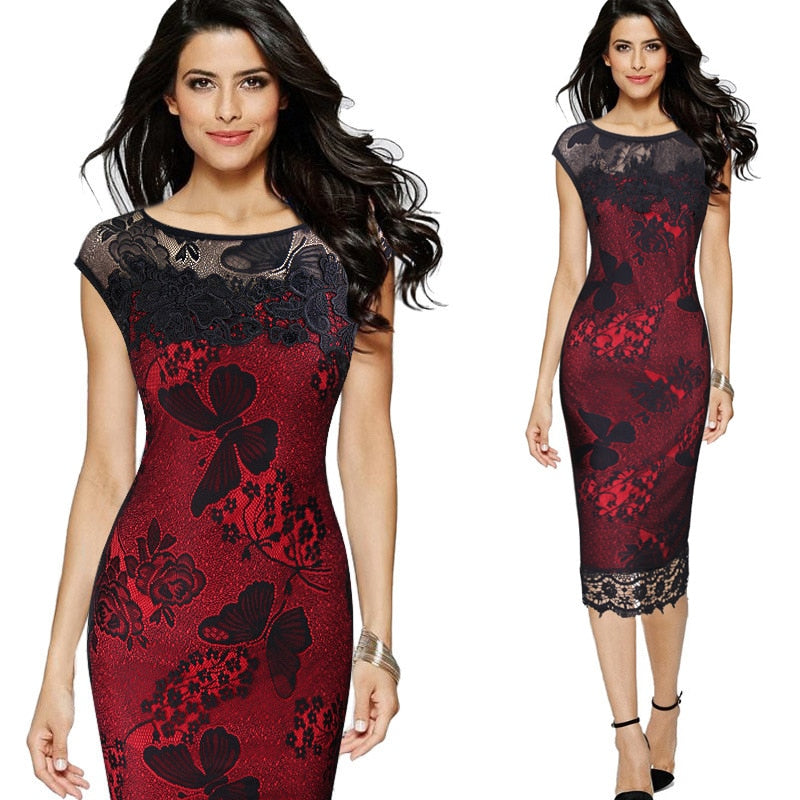 Women Pencil Dress Summer Fashion Exquisite Sequins Crochet Butterfly Lace Party Bodycon Dress