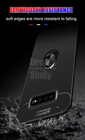 Shockproof Soft Case On The For Samsung Galaxy S10 S8 S9 PLus S10 Lite Ring Bracket For Note 8 9 Car Magnetic Bumper Case
