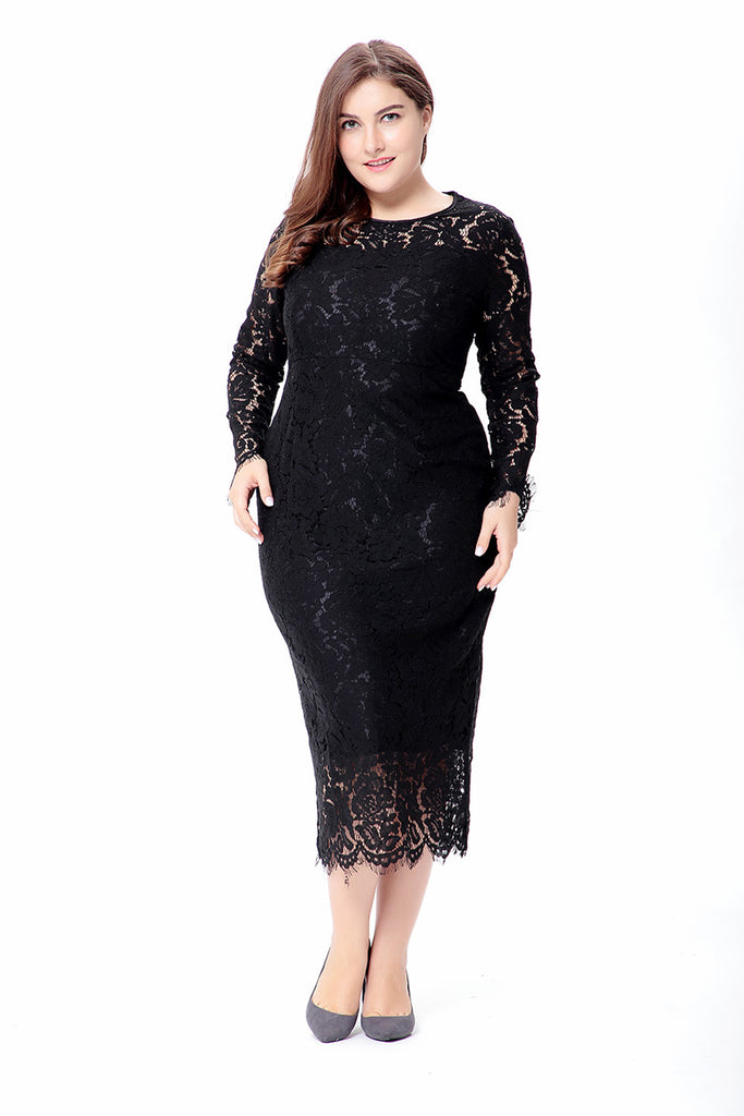 Women  Lace Dress Autumn Elegant Bodycon Sexy Midi Dress Party Dresses