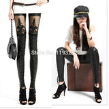 Punk Gothic Black Faux Leather Leggings Lace Floral See-through Cross Bandage Tied Tights