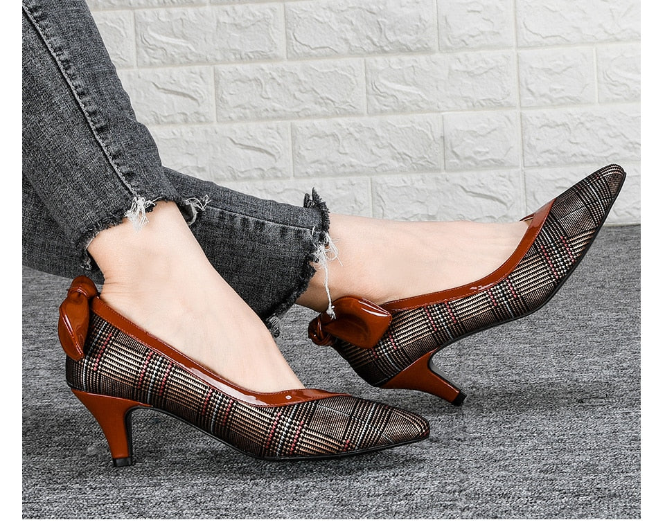 Spring Autumn Women Shoes High Heels Woman Pumps Mixed Color Ladies Office Shoes Pointed Toe Summer Heels