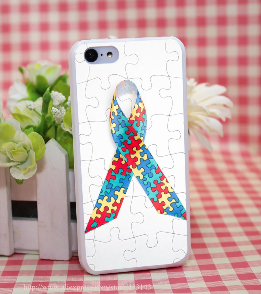Puzzle Autism Awareness Hard White Cover Case for iPhone 4 4s 5 5s 5c 6 6s Protect Phone Cases