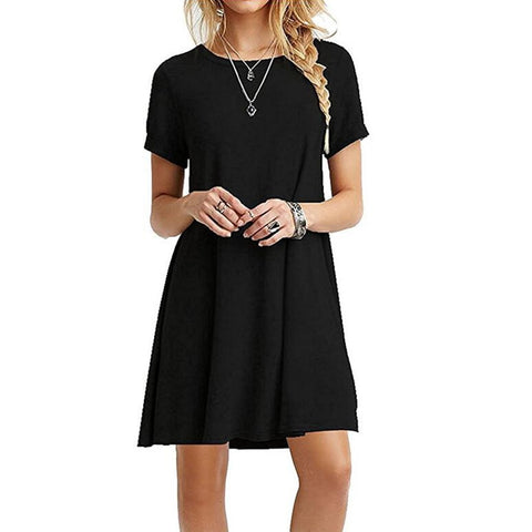 Summer  Fashion Women Dress Casual Round Neck Short Sleeves Loose Large Women Dress Belly Fit Casual Woman Dresses
