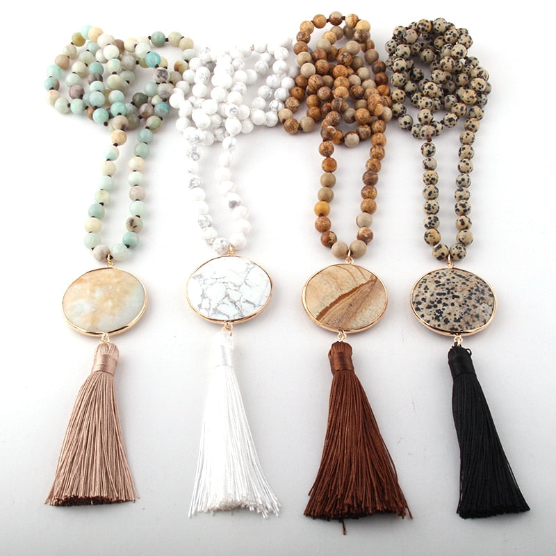 Gold Cotton Filled Gift Box for Free Multi Color Knotted String Beaded Black Faux Leather Tassel Pendant Necklace