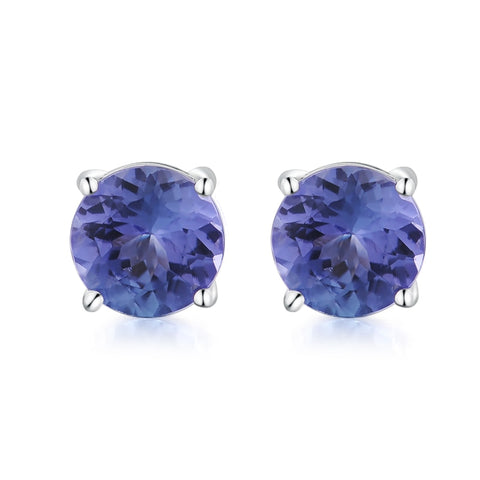 0.71CT Round Cut 4.5mm Natural Tanzanite Earrings 18K White Gold Stud Earrings For Women Wedding Birthday Party Earrings Stud